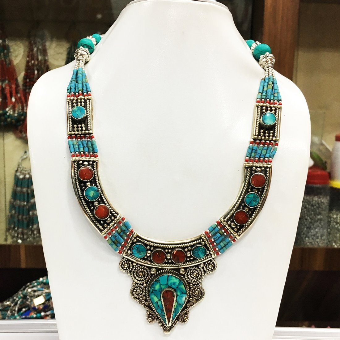 Old Vintage Lapis Tibetan Asian Necklace