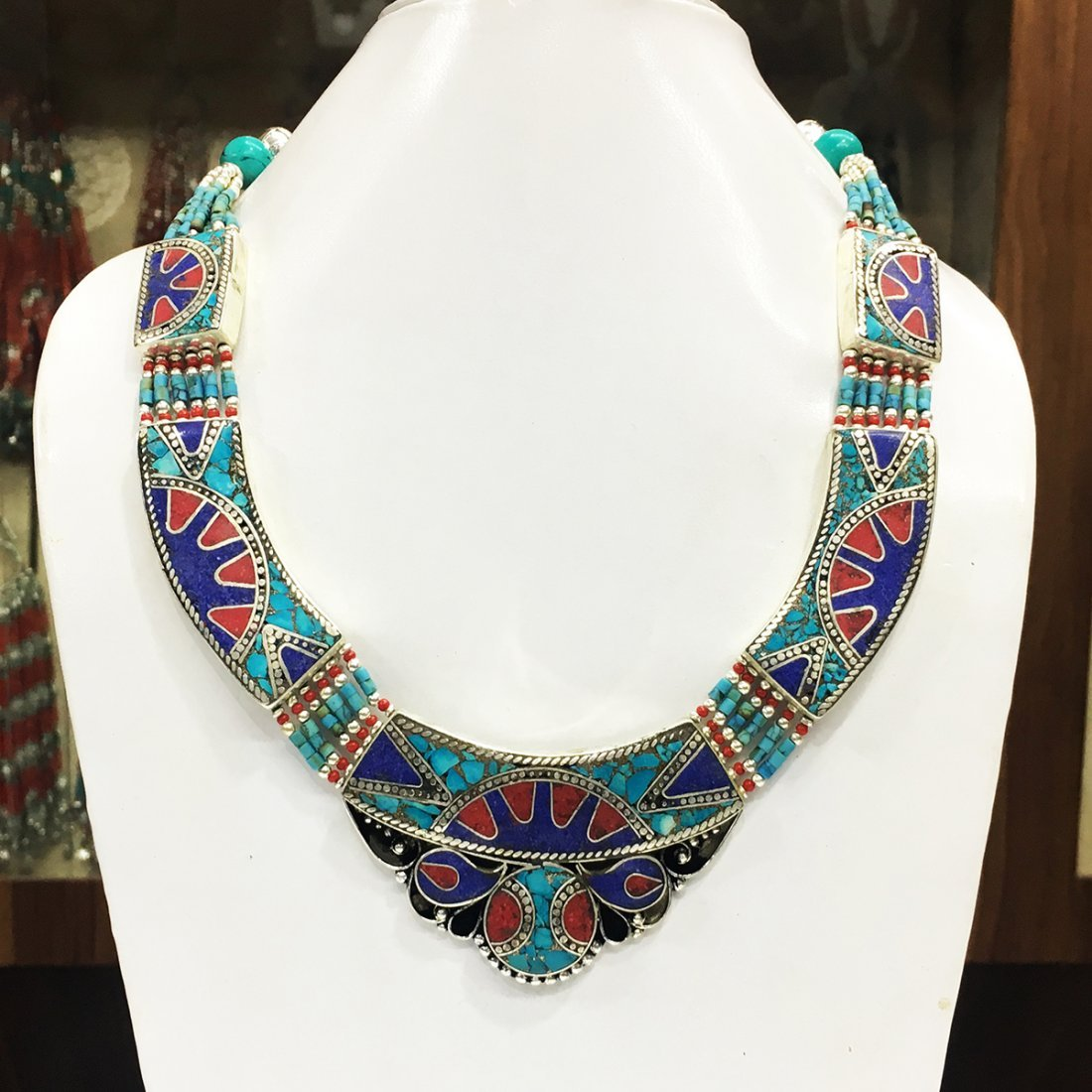 Turquoise & Amber Tribal Bohemian Big Necklace
