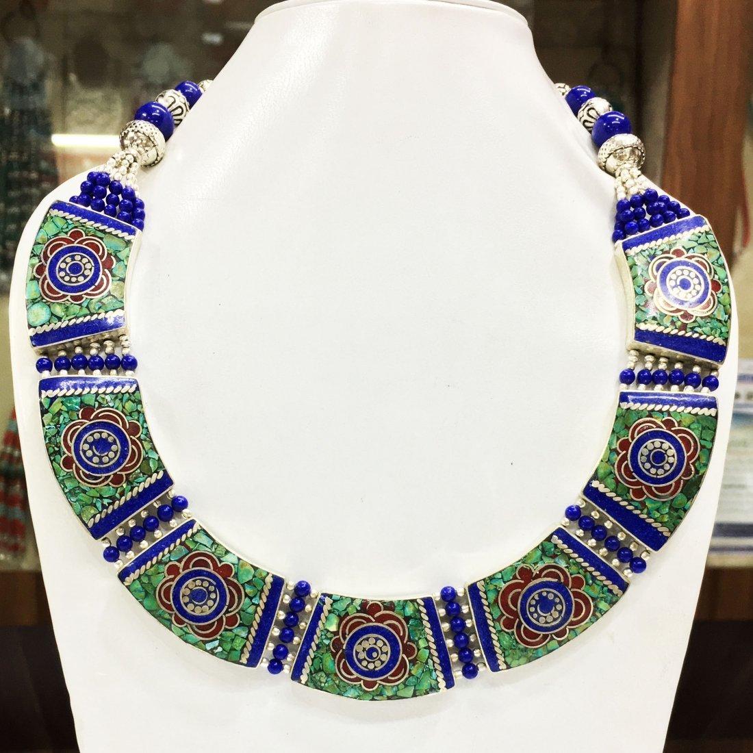 Tibetan Lapis Unique Handmade Choker Necklace