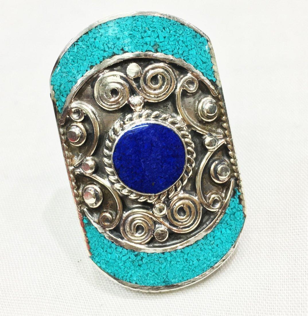 Free size - Natural Lapis & Turquoise Statement Ring