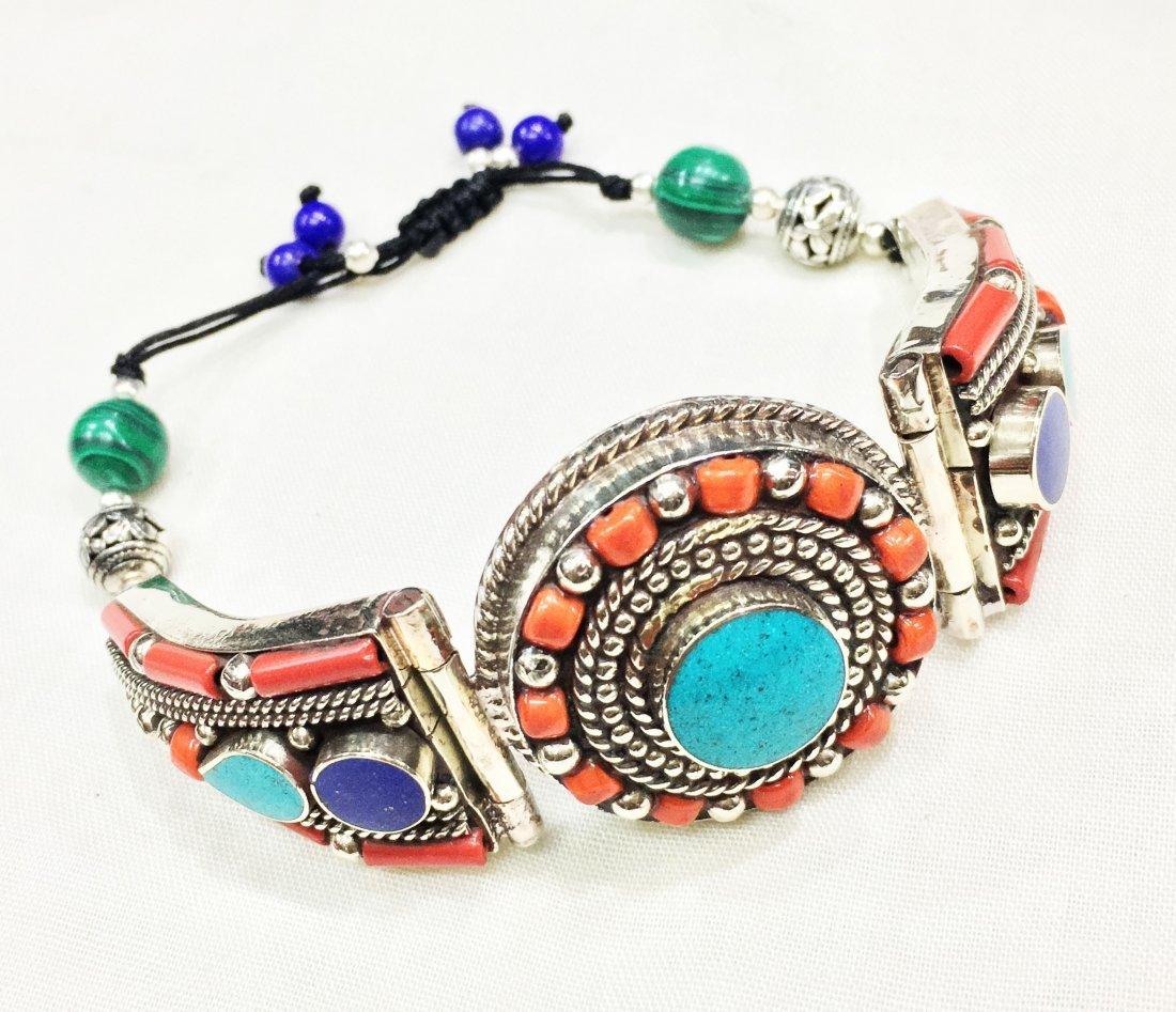 Turquoise & Coral Handmade Statement Bracelet