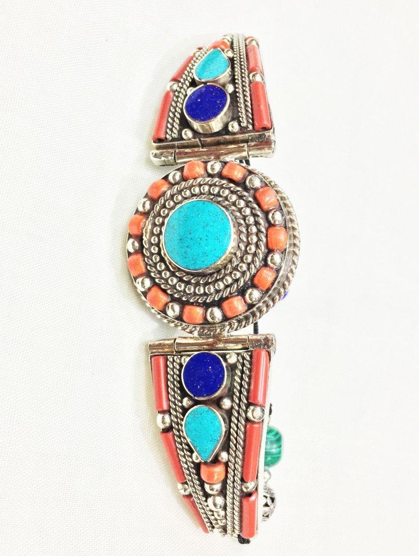 Turquoise & Coral Handmade Statement Bracelet - 2
