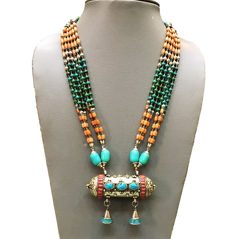Natural Turquoise & Coral Beads Handmade Necklace