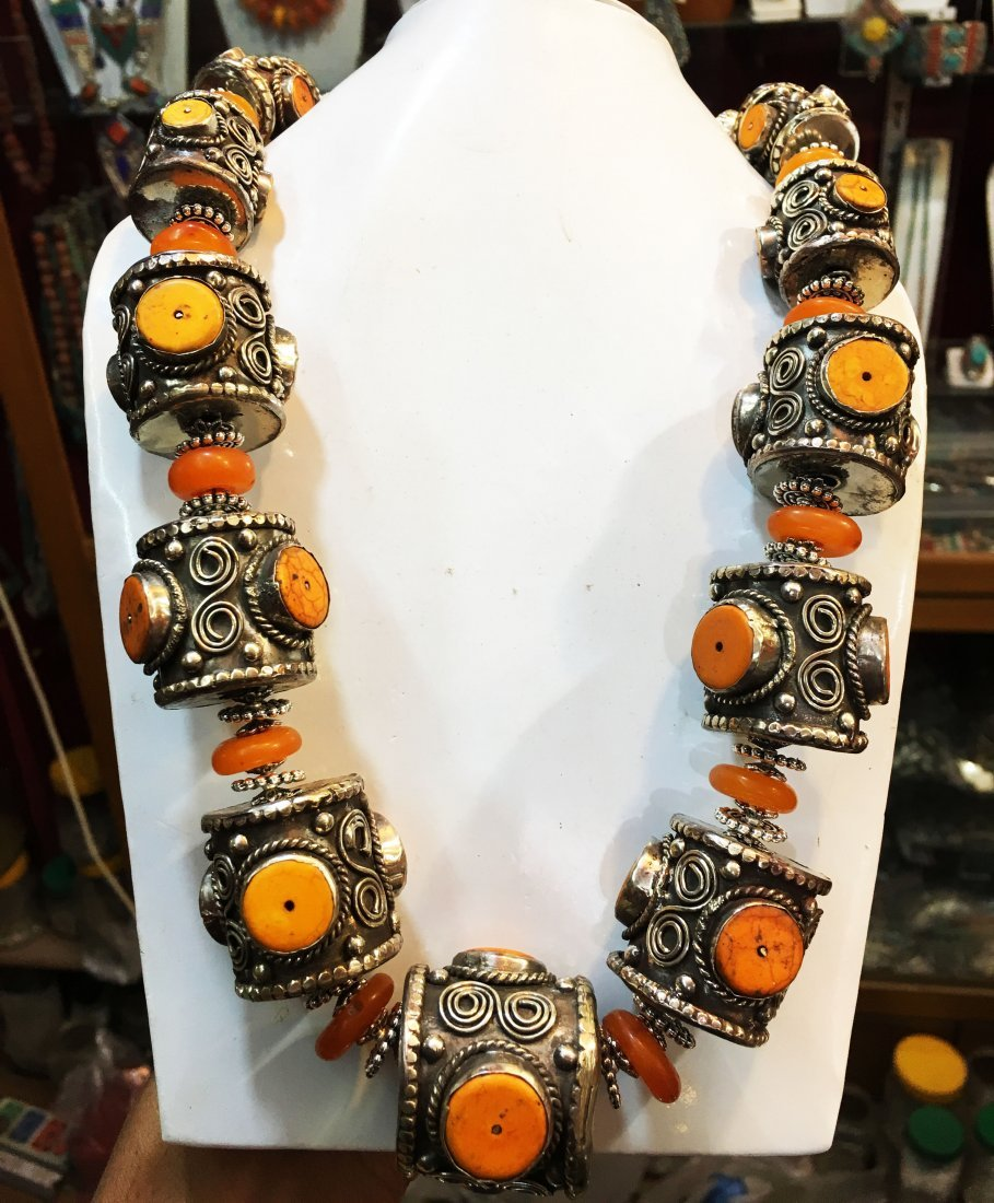 Nepalese Handmade Amber Antique Necklace