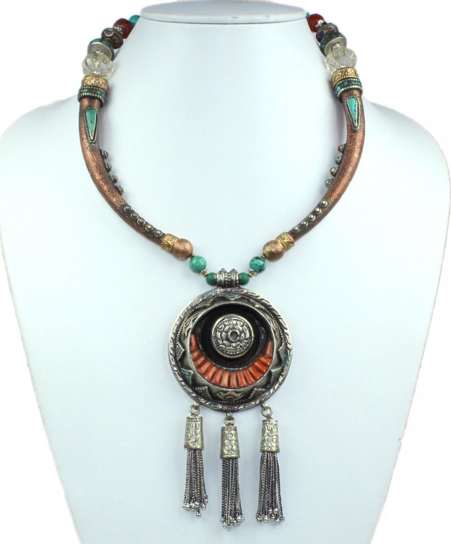 Nepalese Turquoise & Coral Gemstone Necklace
