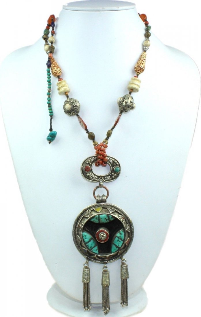 Traditional Tibetan Turquoise, Amber & Coral Necklace