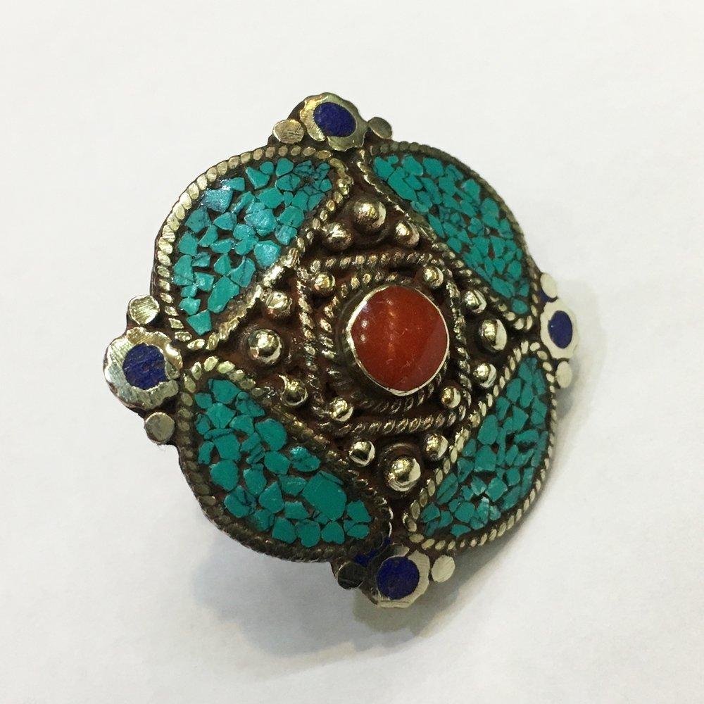 Free size Antique Tibetan Lapis & Red Coral Ring