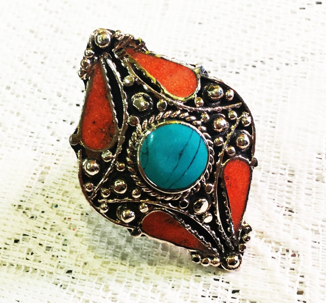 Free size - Traditional Vintage Turquoise Antique Ring
