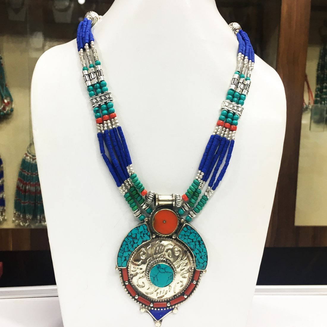 Exclusive Design - Lapis & Coral Tibetan Necklace