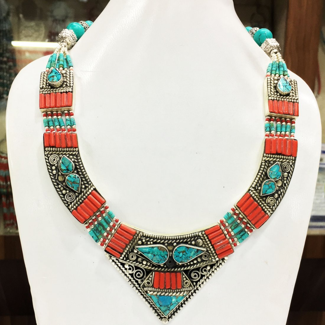 Turquoise Coral Mexican Choker Necklace