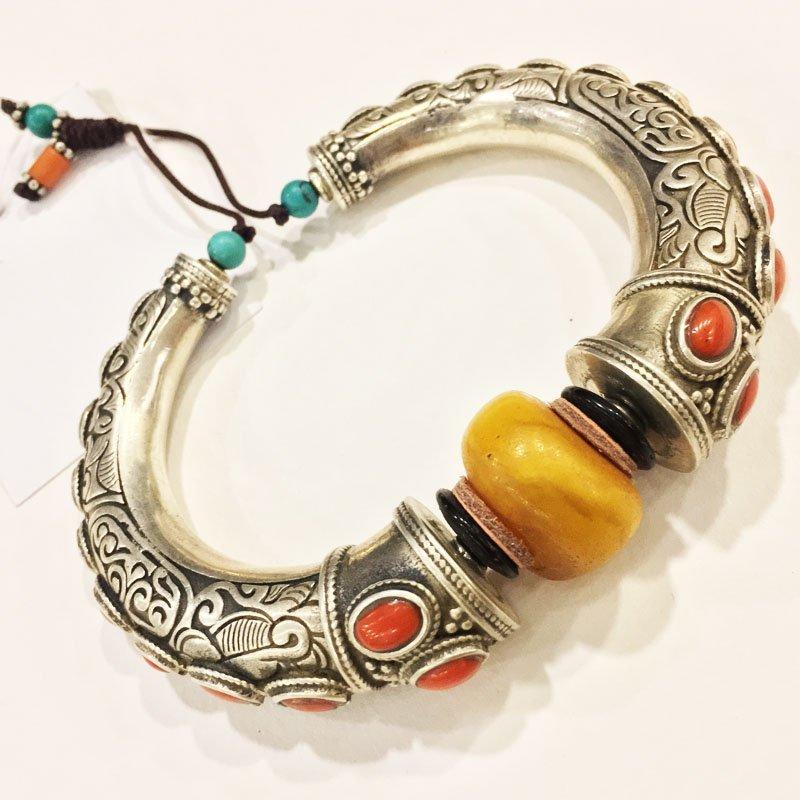 925 Sterling Silver Antique Amber Handmade Bangle