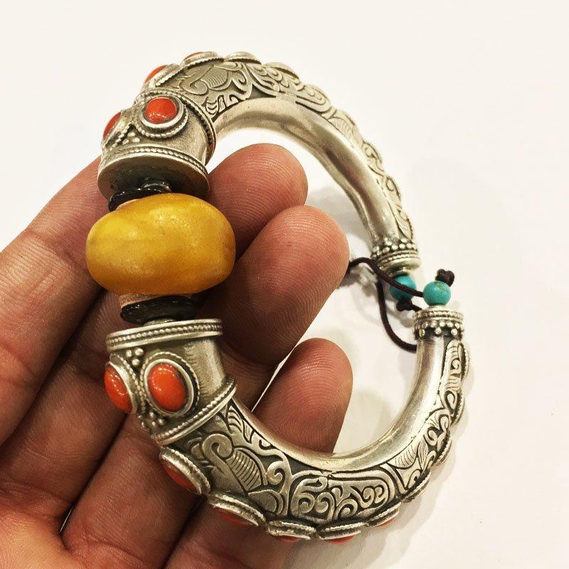 925 Sterling Silver Antique Amber Handmade Bangle - 2