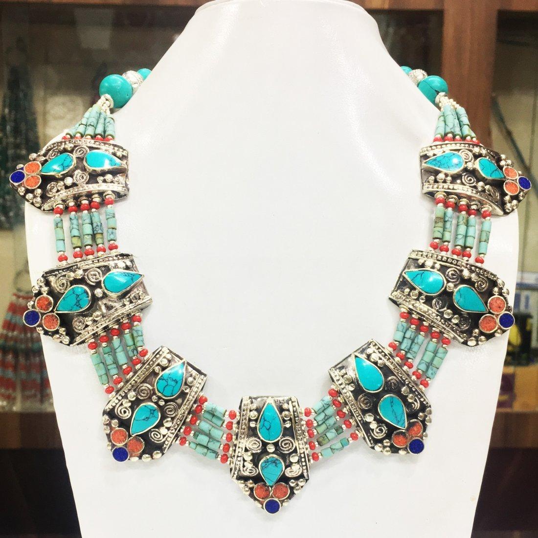 Natural Ethnic Tibetan Turquoise Beautiful Necklace