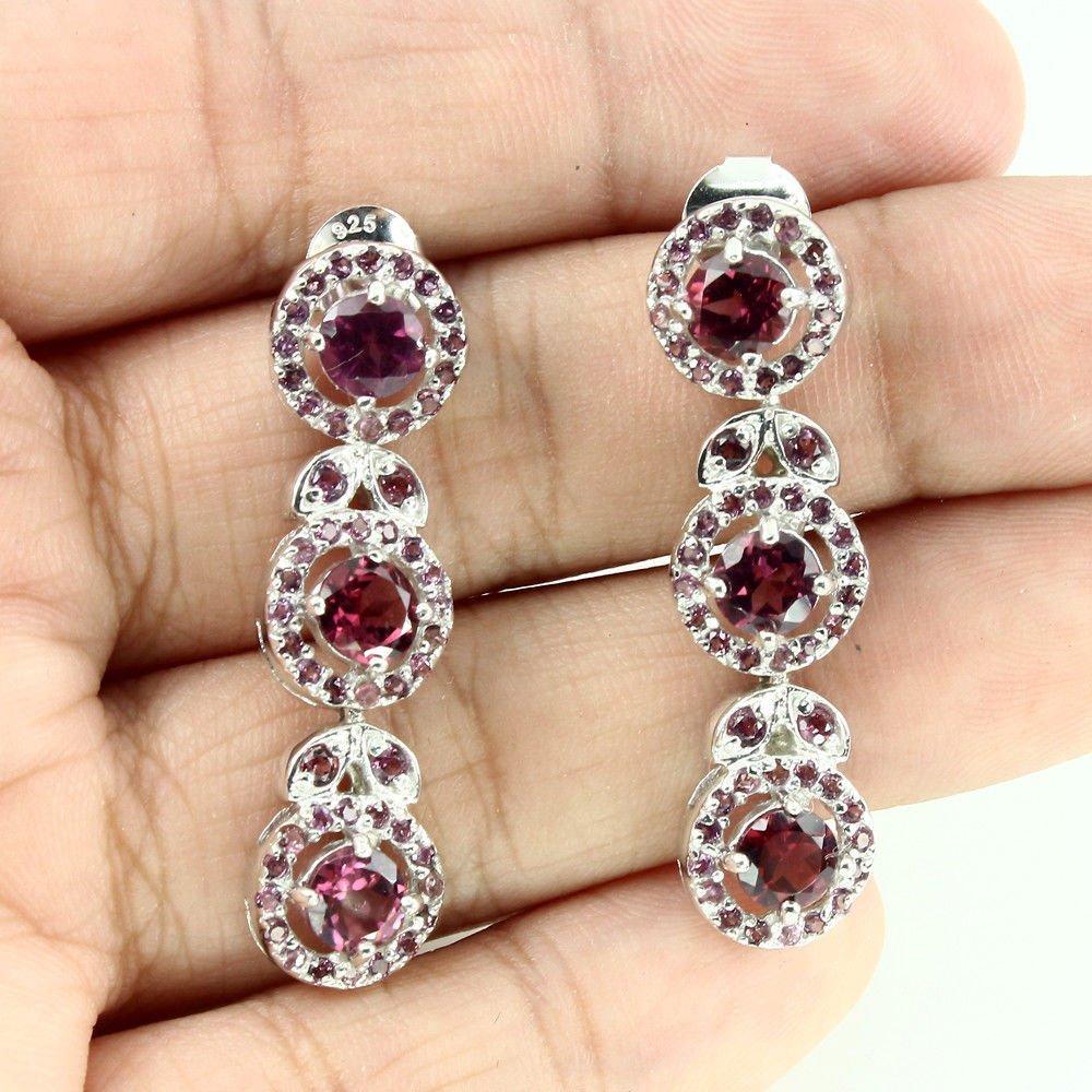 Rhodolite Garnet 925 Sterling Silver Earrings - 2
