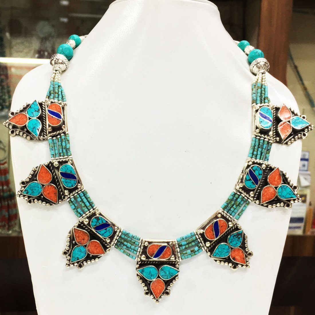 Tibetan Coral & Turquoise Beaded Necklace