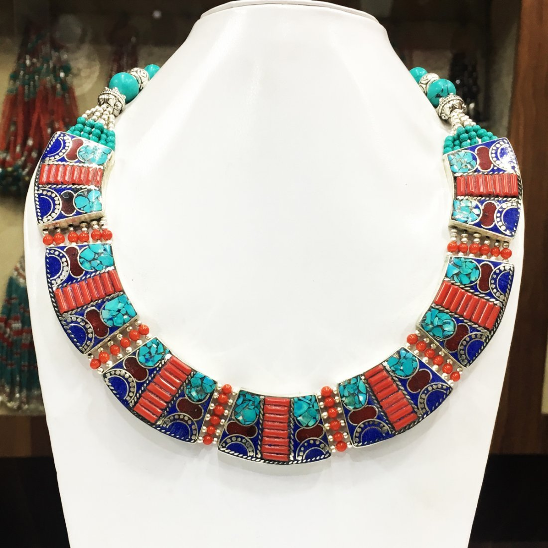 Ethnic Tibetan Turquoise & Amber Mexican Necklace
