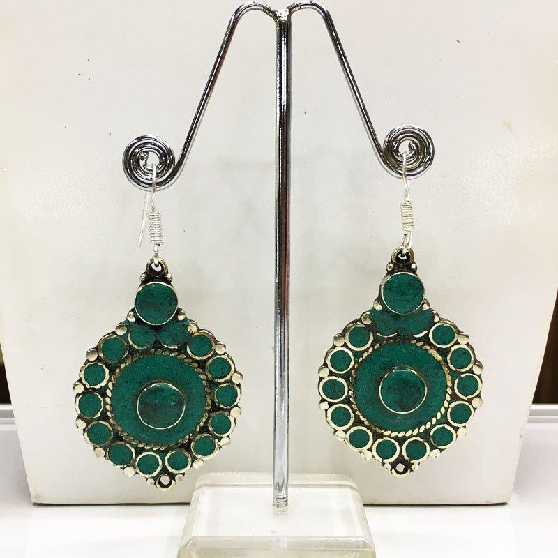 Vintage Tibetan Coral Turquoise Beaded Earring