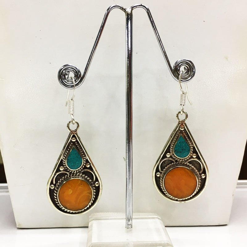 Traditional Tibetan Turquoise, Amber & Coral Earring