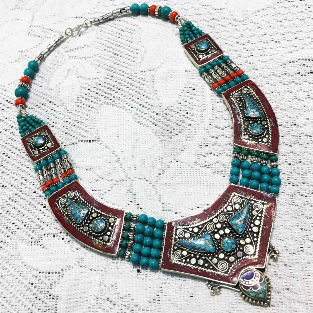 Handmade Turquoise & Red Coral Tibetan Necklace