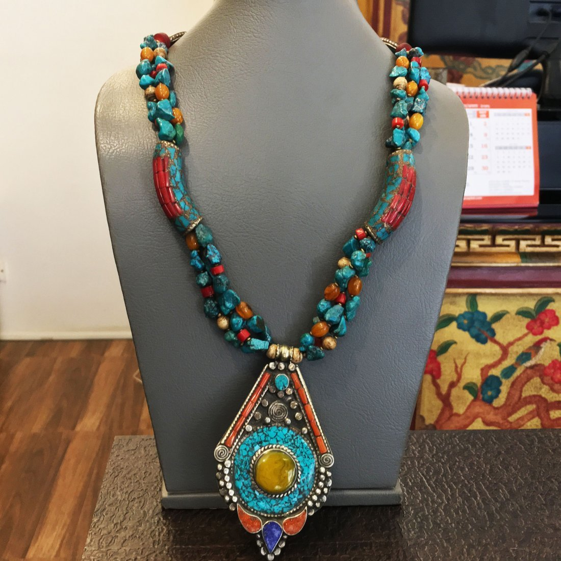 Turquoise & Amber Antique Handmade Necklace