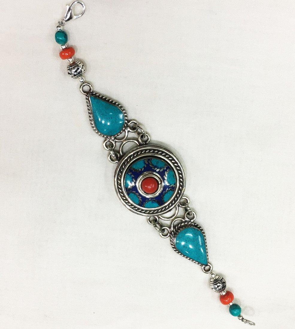 Turquoise & Lapis Vintage Handmade Bracelet