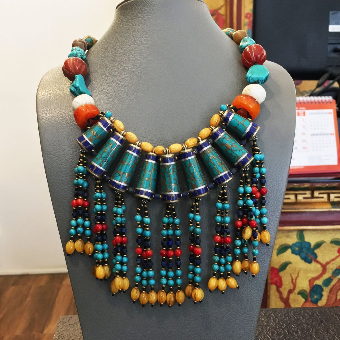 Turquoise & Amber Antique Choker Handmade Necklace