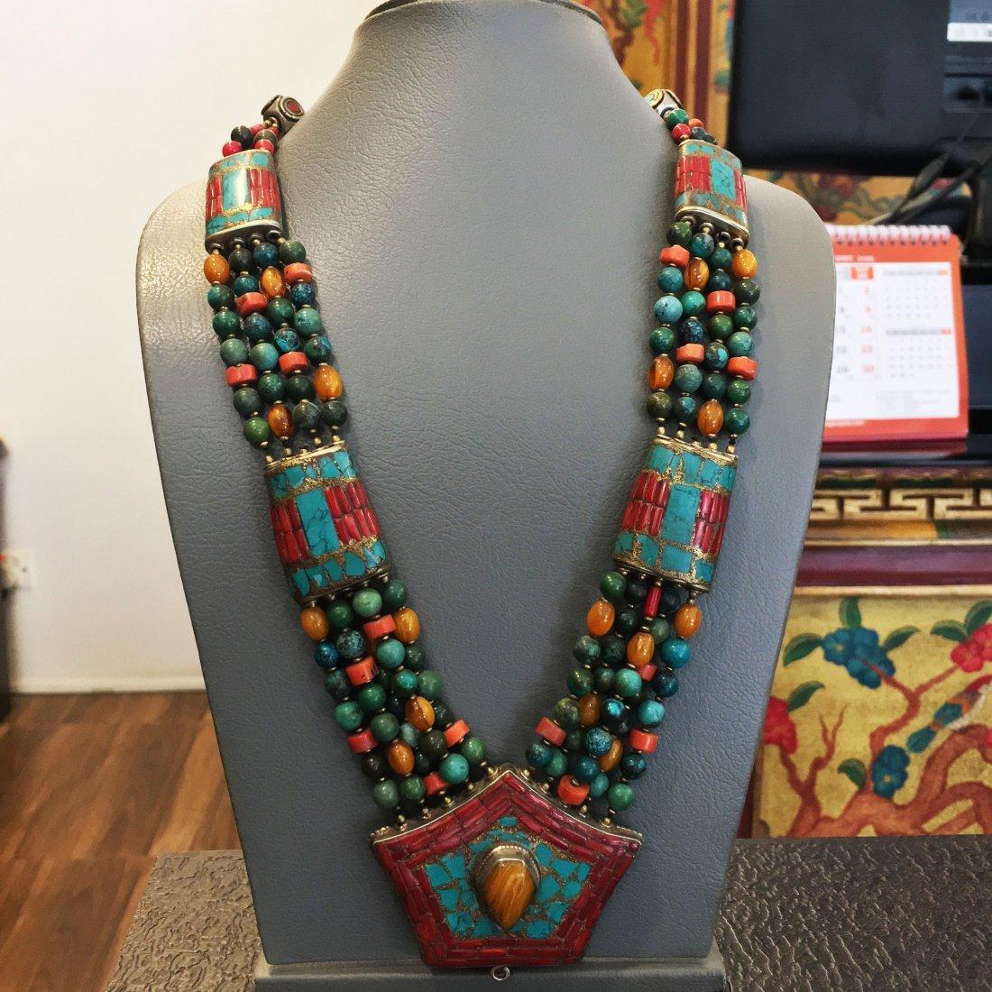 Tibetan Turquoise & Amber Statement Necklace