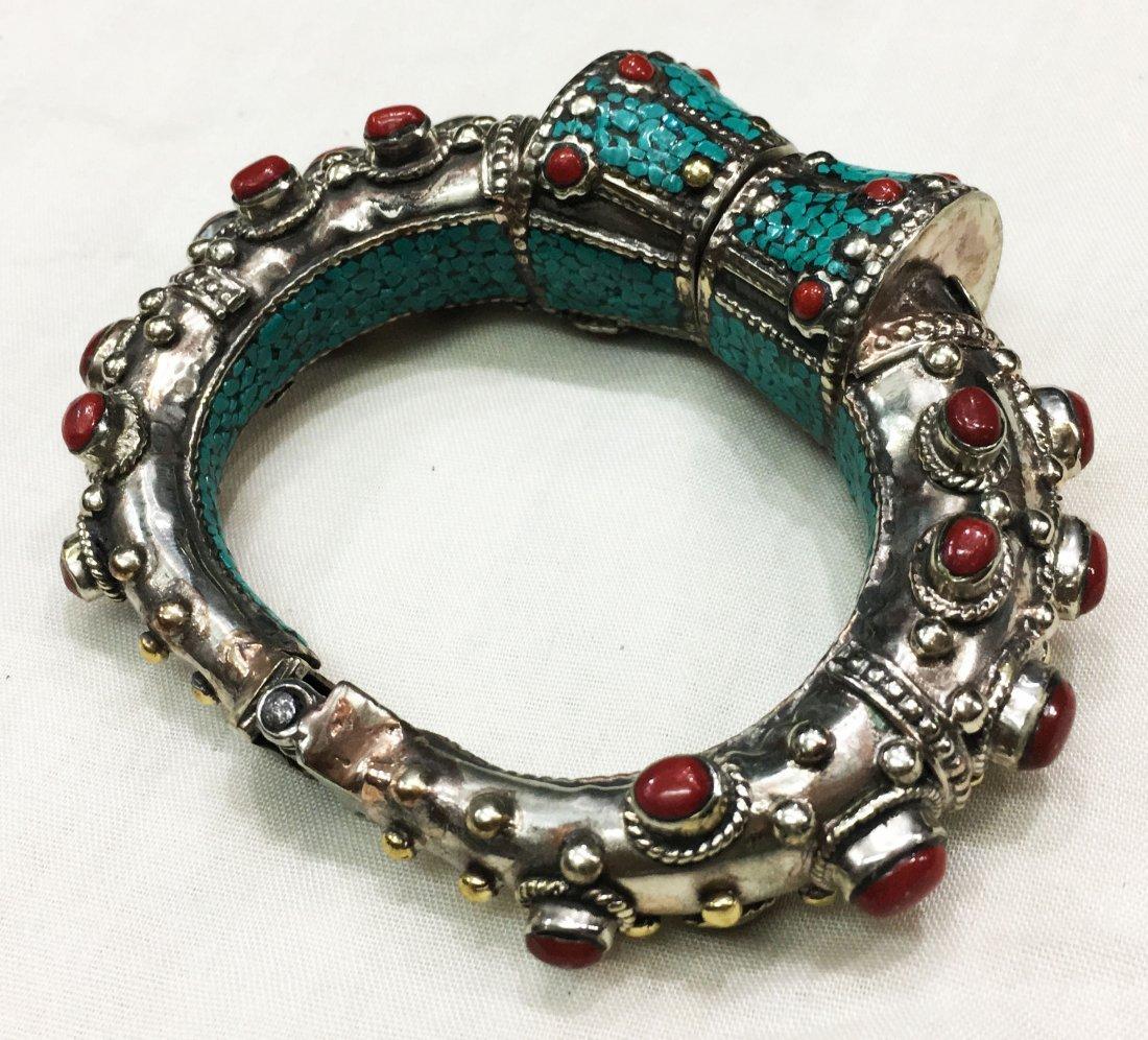 Beautiful handmade Tibetan Tibet Silver Bangle - 2