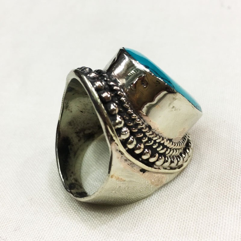 10MM Traditional Vintage Turquoise Antique Ring - 2