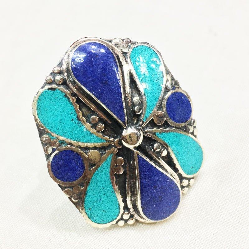 Free size - Amber-Coral-Lapis Tibetan Silver Ring
