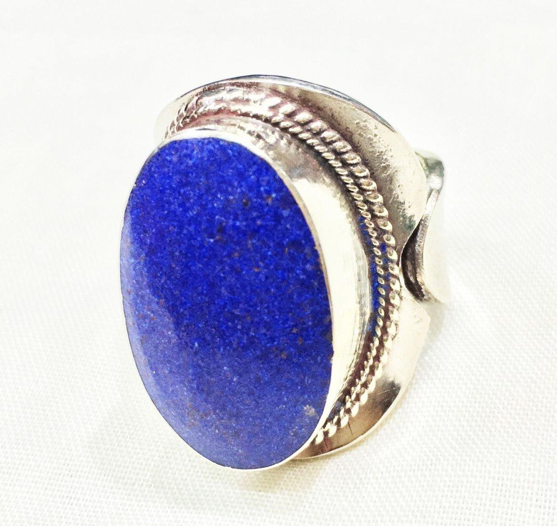 Free size - Tibetan Lapis Statement Handmade Ring