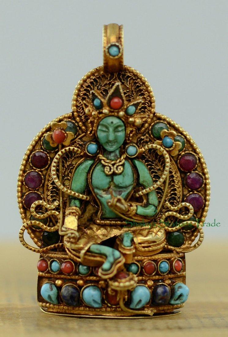 Buddhist Ritual Sacred Ghau Prayer Box Silver Pendant