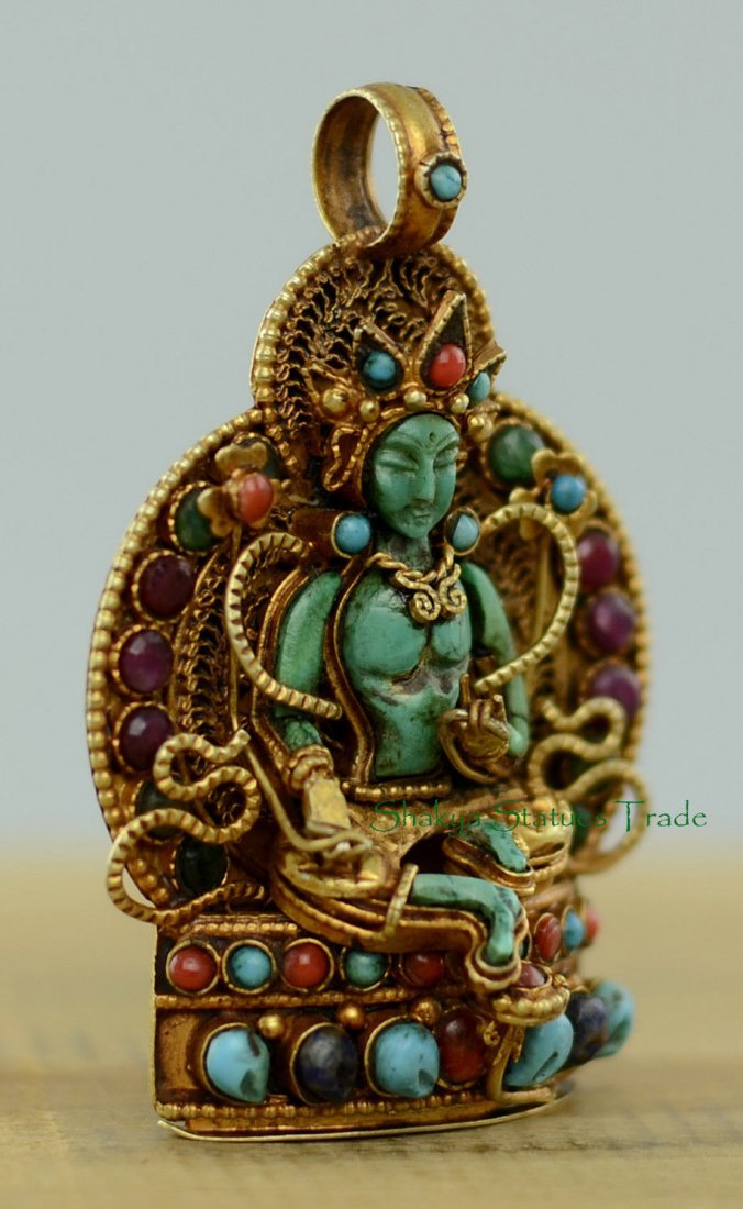 Buddhist Ritual Sacred Ghau Prayer Box Silver Pendant - 2