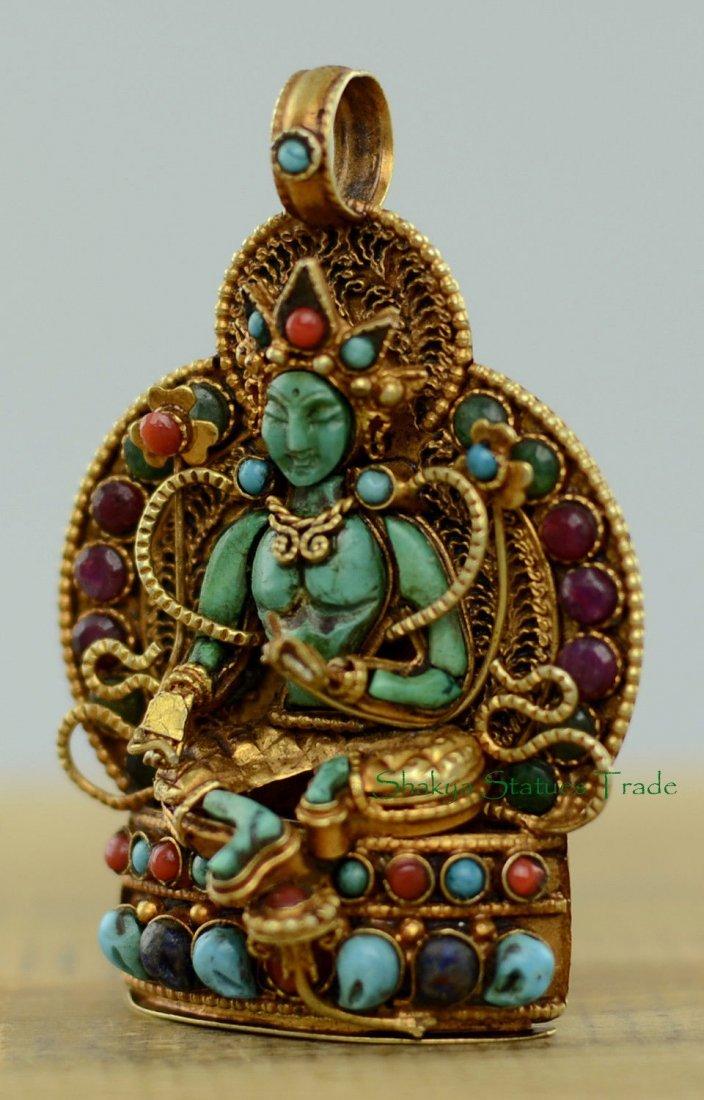 Buddhist Ritual Sacred Ghau Prayer Box Silver Pendant - 3