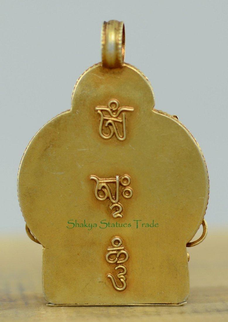 Buddhist Ritual Sacred Ghau Prayer Box Silver Pendant - 4