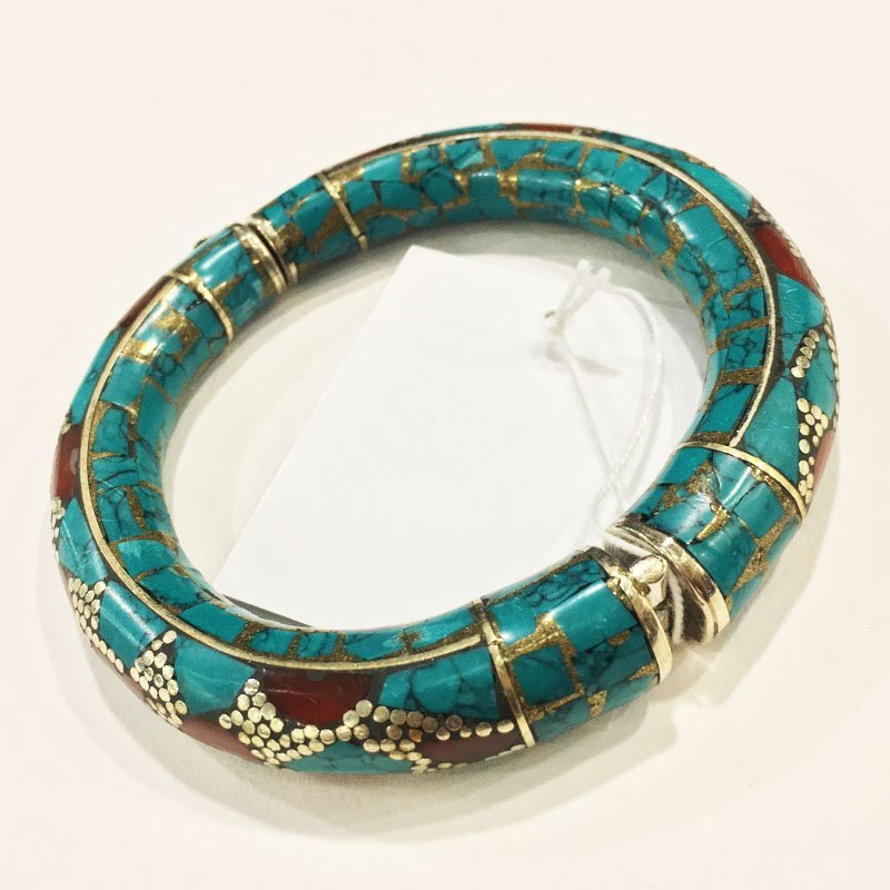 925 Sterling Silver Turquoise Handmade Bangle - 2
