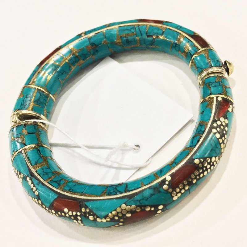 925 Sterling Silver Turquoise Handmade Bangle - 3