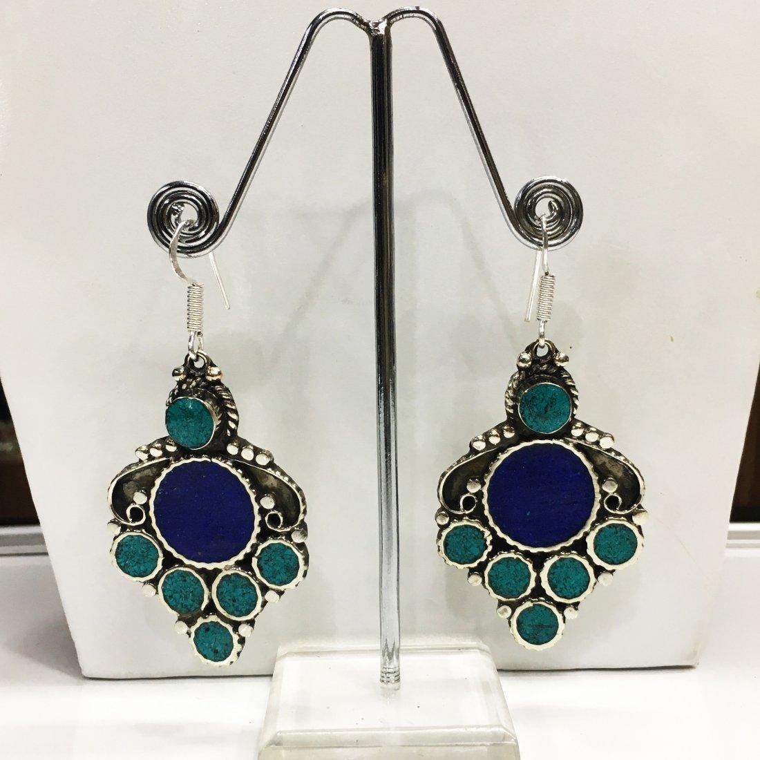 Traditional Vintage Turquoise & Lapis Handmade Earring
