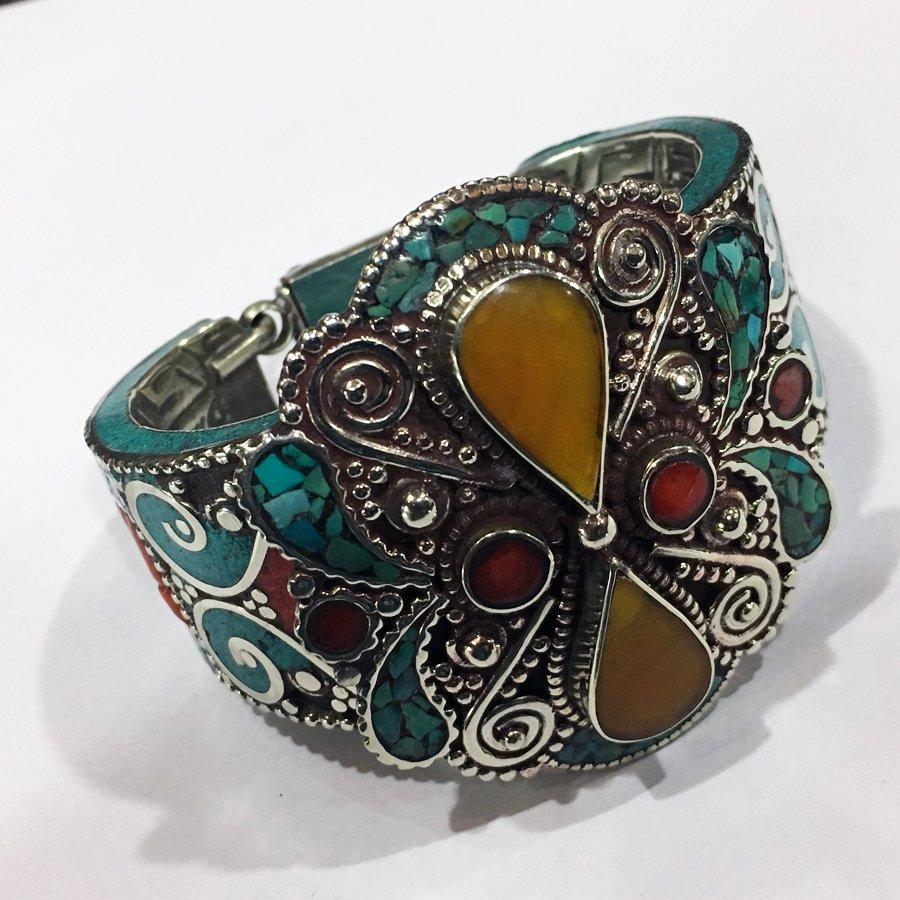 Antique Tibetan Silver Amber & Turquoise Bangle
