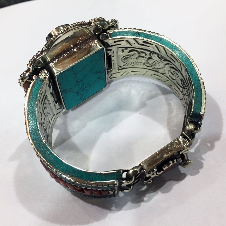 Antique Tibetan Silver Amber & Turquoise Bangle - 2