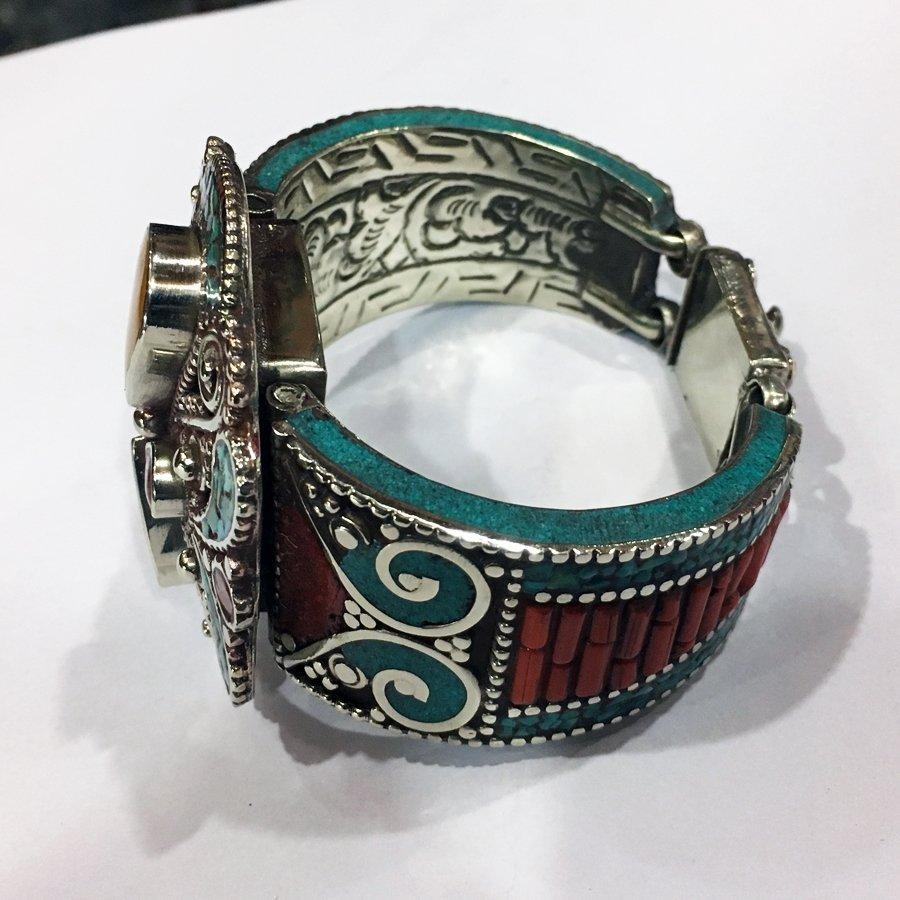 Antique Tibetan Silver Amber & Turquoise Bangle - 3