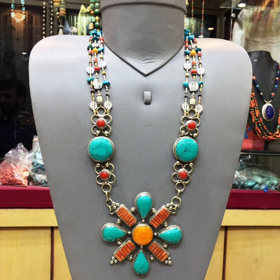 Tibetan Turquoise & Coral Handmade Necklace