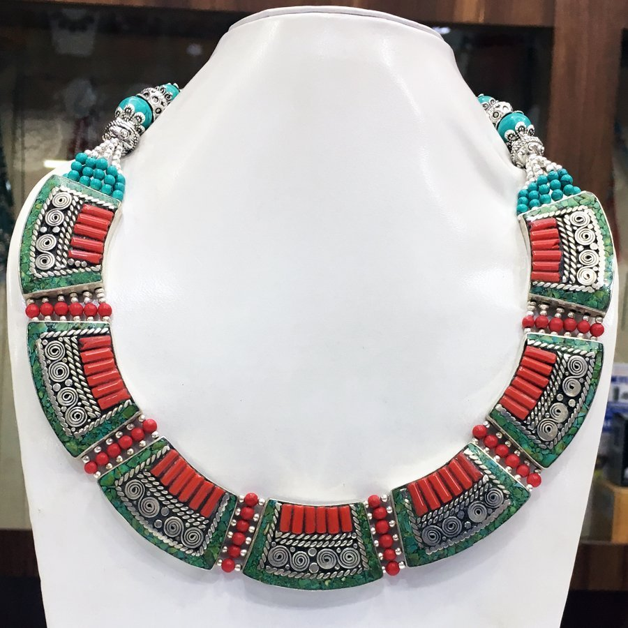 Traditional Turquoise & Amber Antique Handmade Necklace