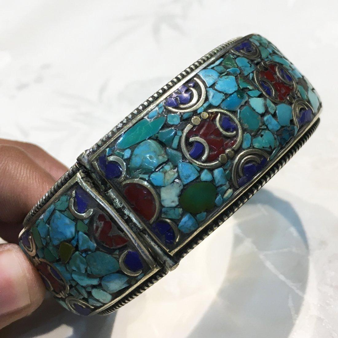 Natural Ethnic Tibetan Turquoise Beautiful Bangle - 3