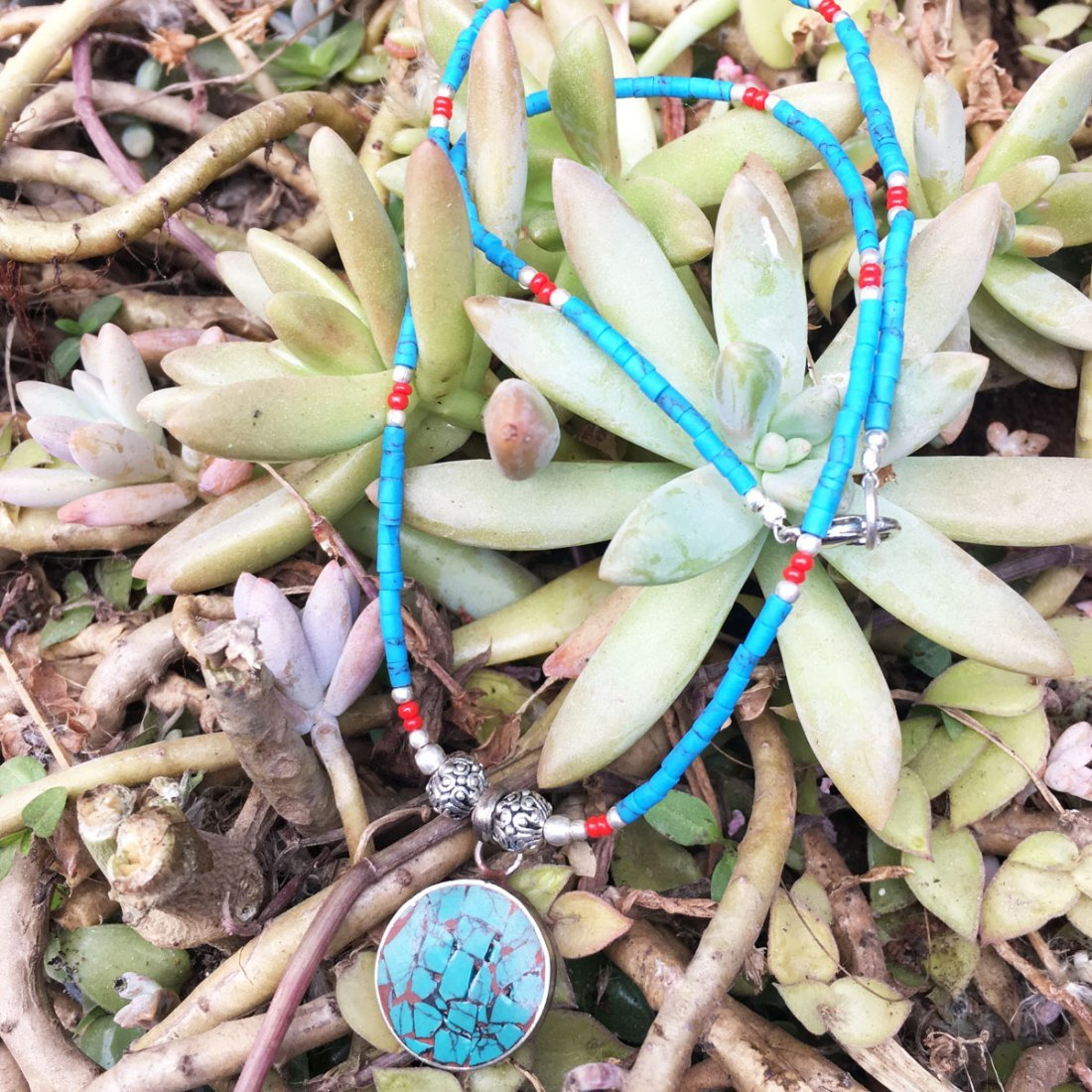 Turquoise & Coral Awesome Nepali Necklace - 2