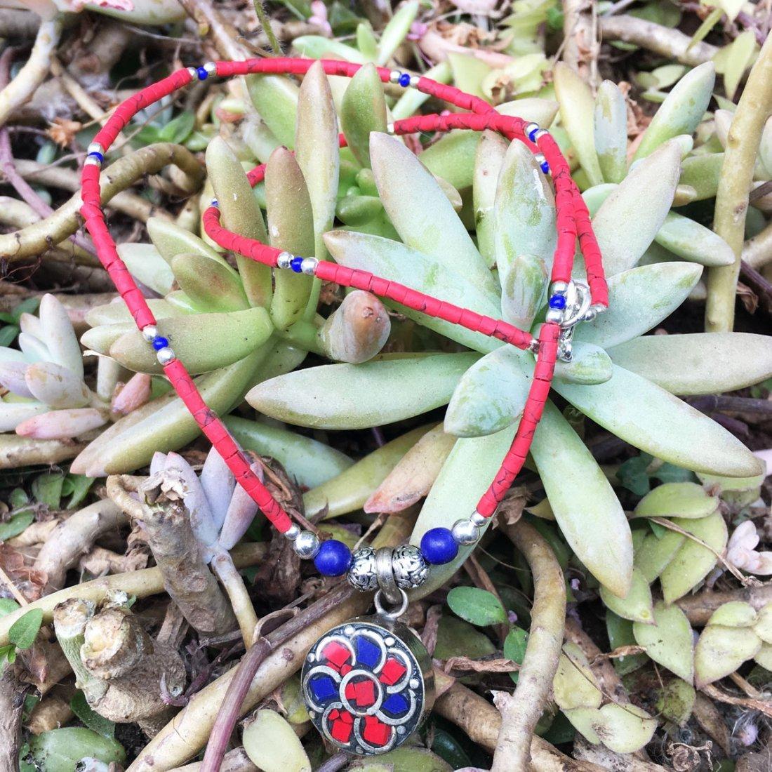 Ethnic Tibetan Coral & Lapis Beautiful Necklace
