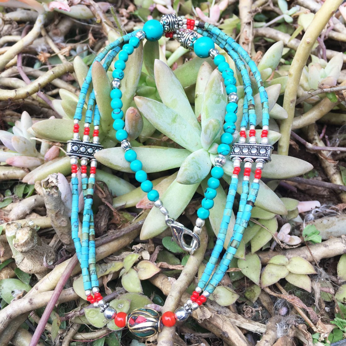 Handmade Turquoise & Coral Awesome Necklace