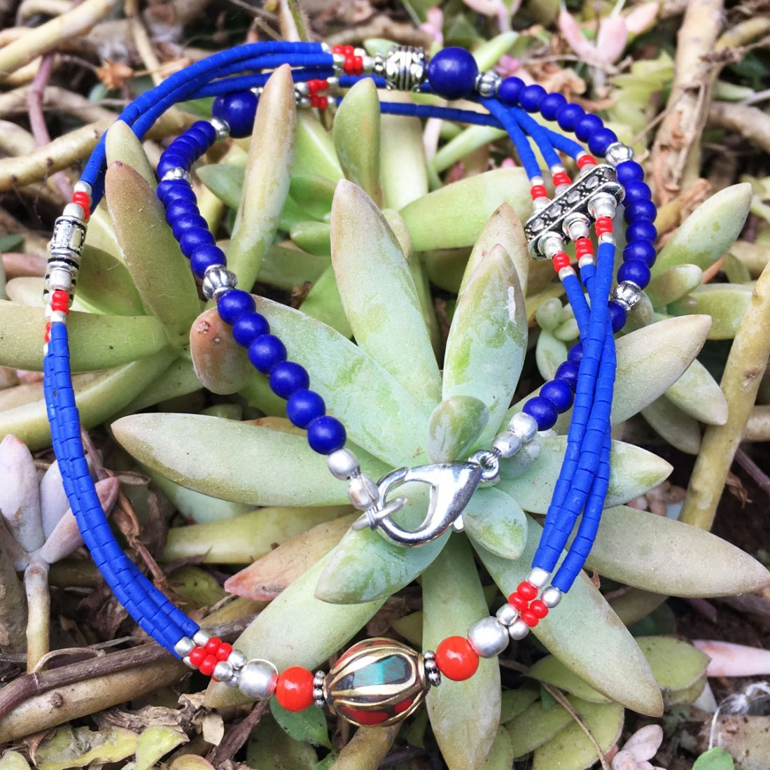 One-of-a-kind Beautiful Lapis Tribal Necklace