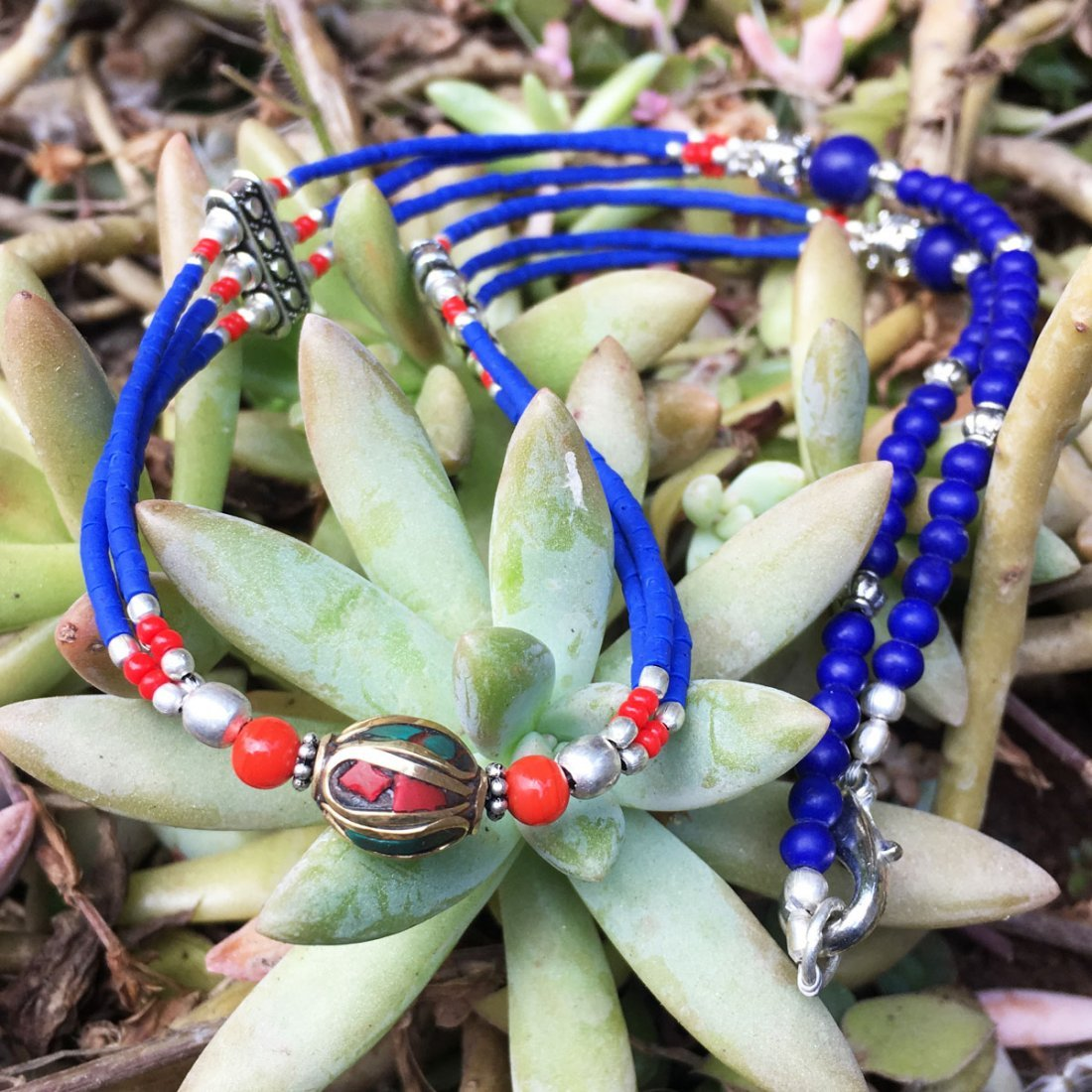 One-of-a-kind Beautiful Lapis Tribal Necklace - 2