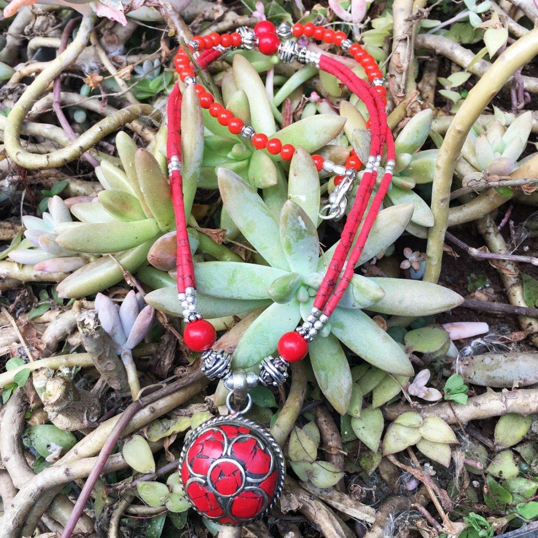 Exclusive Design - Natural Coral Tibetan Necklace